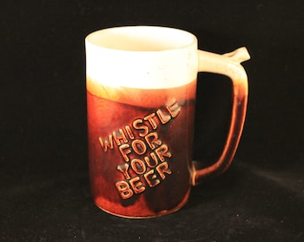 """SALE Vintage Ceramic Stoneware """"Whistle For Your Beer"""" Mug, """"Wet Your Whistle"""" Works"""
