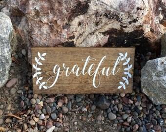 Rustic Home Decor,Grateful,Farmhouse Decor,Rustic Sign,Farmhouse Style,Grateful Sign,Holiday Decor,Thanksgiving Decor,Fall Decor,Festive