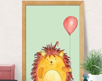 Hedgehog Nursery Print, Nursery Wall Decor, Nursery Wall Art, Woodland Animal Print, Cute Hedgehog, Nursery Animal Decor