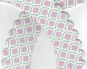CUPCAKE WRAPPERS (12 pc)  --  Lavender/Pastel Purple, Emerald Green & Gray