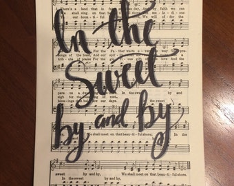 Hand Lettered Hymnal Page- There's a Land that is Fairer than Day