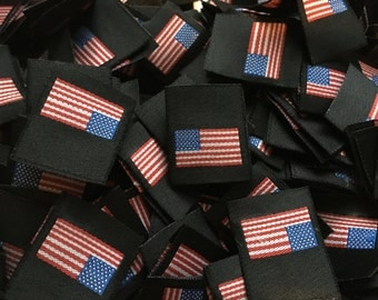 50 USA Stars and Stripes American U.S.A Flag Woven Clothing Garment Labels 25mm Loop folded labels for clothes or Accessories
