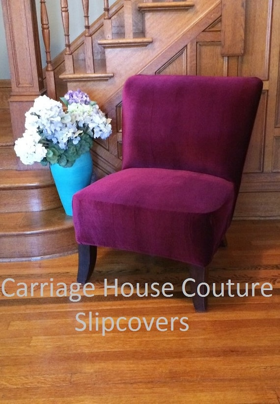 Slipcover Navy Blue Velvet Stretch Chair By CarriageHouseCouture