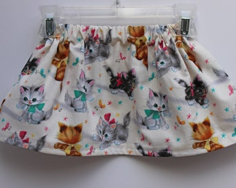 Girls Skirts, Baby Girl Toddler Kitten Skirt, Kitten print skirt, Cat print skirt, Girls Skirt