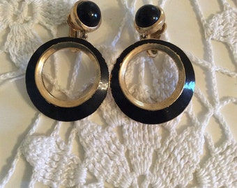 Vintage Trifari Gold-Tone and Black Clip On Earrings with Hoops