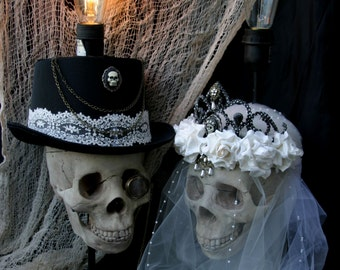 Til Death Do Us Part lamps, skull bride and groom lamps, wedding couple set of lamps