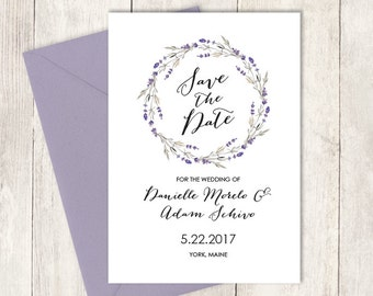 Floral Save The Date / Purple Rustic Lavender Wreath Flower, Twig ▷ Printed Wedding Invitations {or} Printable