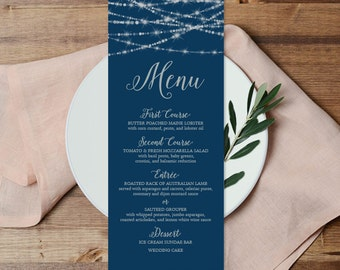 Elegant Menu / Wedding Menu / Great Gatsby Inspired Bokeh String Light / Black and Gold Calligraphy▷ Printable File {or} Printed & Shipped