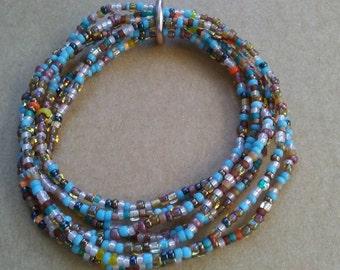 multi-strand glass seed bead stretch BRACELET