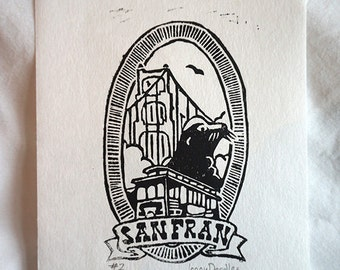 San Francisco Small Linocut Print