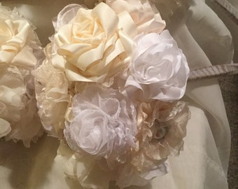 Fabric Flower Bouquet - Wedding - Brooch - Bridal - Jewelry - Vintage - Bridesmaid,Fabric Flower,Lace,Pearls