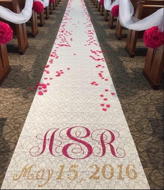 Initial Glitter Monogrammed Aisle Runner For WEDDING Or