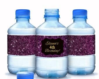 Purple Glitter Birthday Water Bottle Labels  - Gold and Purple - 4th Birthday - 3rd Birthday - 2nd Birthday - Purple Birthday
