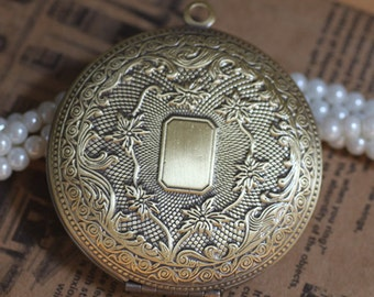 1PC/Bulk Sale,Big Antique Bronze Round Locket – Vintage DIY Jewelry Supplies, 04992