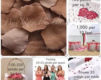 500 Cocoa Latte Rose Petals -Silk Rose Petals for Weddings