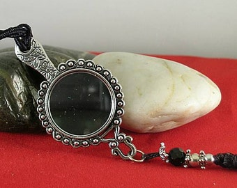 Tasseled Girdle Mirror with Onyx - Elizabethan Renaissance Necklace