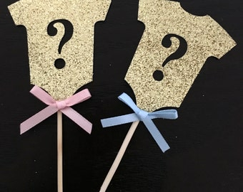 12 Gender reveal baby shower cupcake toppers .. boy or girl .. baby shower .. cupcake toppers