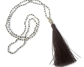 Buddha Charm Dark Brown Tassel Silver Beaded Hand Knotted Necklace 28 Inches