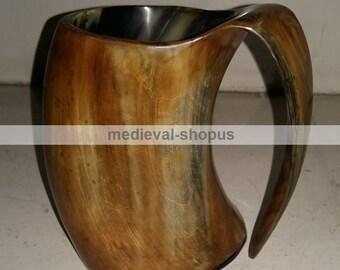 viking drinking horn mug medieval renaissance Ox Horn beer mug Tankard burn finish