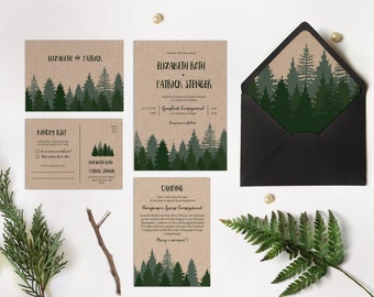 Winter wedding invitation printable, Pine forest wedding invitation printable, Woodsy Pine invitation, Pine tree Kraft paper wedding invite