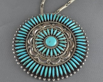 Francis Begay Vintage Navajo Sterling Silver Turquoise Pin Pendant Necklace