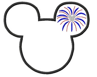 Character Patriotic Head with Firework Ears Embroidery Applique Design