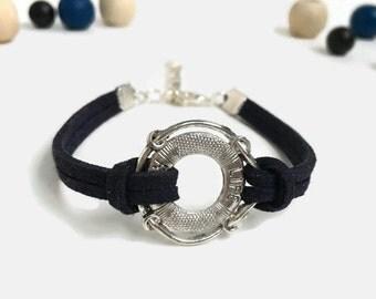 Life ring bracelet Lifeguard gift Life saver bracelet Coast guard gift Life ring jewelry Lifeguard bracelet Nautical jewelry Suede bracelet