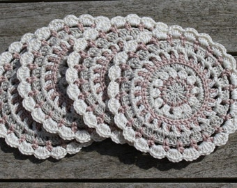 Crochet Coasters, Set of 4 in 100% Cotton. Natural / Neutral Colourway sold in a Hand-Sewn Organza Giftbag