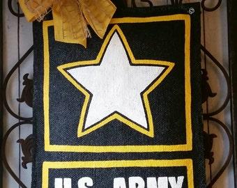 Army Style Hand Painted Burlap Door Hanger, Wreath Replacement