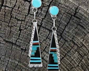 native american jewelry,earrings,turquoise,native american earrings,zuni,Native American,sterling, Zuni Sterling Silver & Inlay Earrings