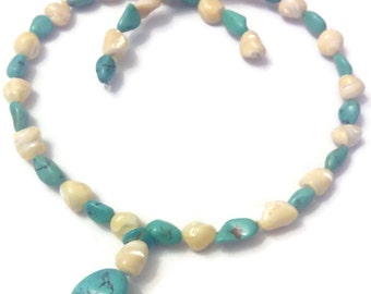 "Necklace wire memoir in ""genuine and Pearly turquoise"""