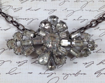 "Vintage Rhinestone Brooch; Chain Necklace; Assemblage Jewelry; Upcycled Jewelry; ""Rustic Elegance"""