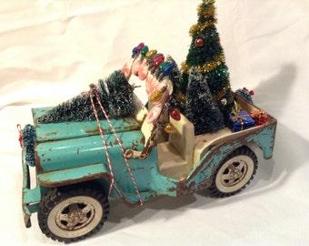 Christmas Vintage Pressed Steel Tonka Jeep