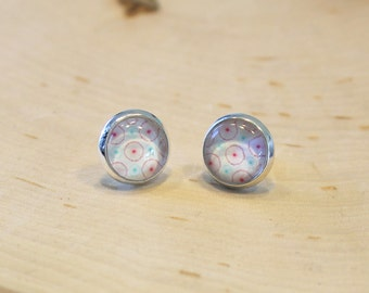 During delicate cabochon glass 10 mm - sleeper - on rod - romantic - - Rose earrings, Turquoise, white
