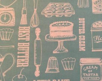 "Clothworks ""Butter Cream""  Baking theme print in Aqua"