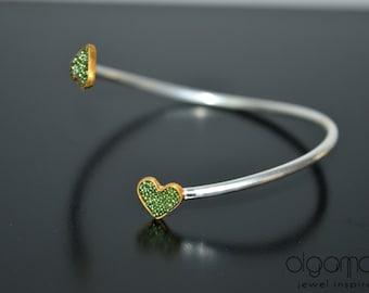 Silver Cuff Bracelet Heart Bracelet Minimal Bijoux Love Bracelet Emerald Contemporary Jewelry Gift for her Delicate Made in Greece Handmade