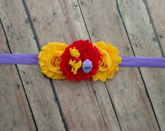 Winnie the Pooh and honey pot headband on shabby flowers with matching elastic band for baby, toddler and adult