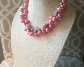 Crocheted pink and silver necklace
