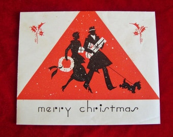 1930's Scottish Terrier Scotty Dog Art Deco Silhouette Christmas Card Excellent Collectible!