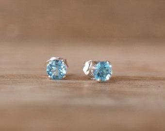 Tiny Blue Topaz Stud Earrings, Swiss Blue Topaz Earrings, November Birthstone, Silver Blue Ear Studs, Blue Topaz Jewellery, Everyday Jewelry