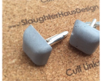 Square Cufflinks Concrete Silver Plated