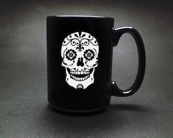 Sugar Skull Coffee Mug - Dia de los Muertos Cup - Mexican Skull Mug- Day of the Dead Coffee Mug - Halloween Coffee Mug