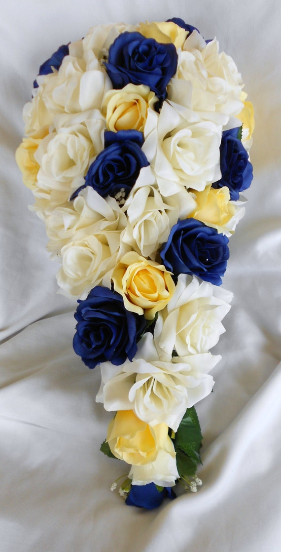 Royal blue yellow and ivory cascade silk bouquet 2 pc