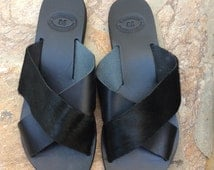Black Pony Skin Criss Cross Sandals, Greek sandals, Real Leather Sandals , summer flats, slip ons, pony skin strappy sandals in black