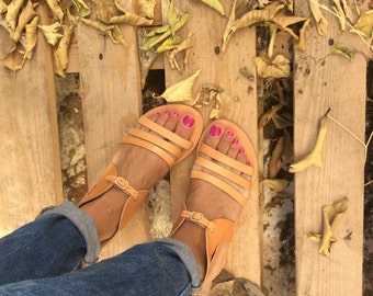 Hermes Summer Sandals, Greek sandals, Leather Gladiator Sandals, Handmade sandals, Real Leather, Anti slip rubber