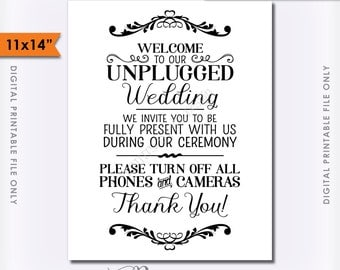 """Unplugged Wedding Sign, Unplugged Ceremony Sign, Unplugged Sign, No Phones, No Cameras, 11x14"""" Instant Download Digital Printable File"""