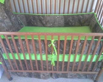 Camouflage, (camo) and lime green baby bedding