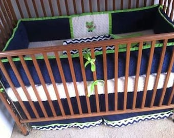 Navy, ivory and lime with fox applique baby bedding