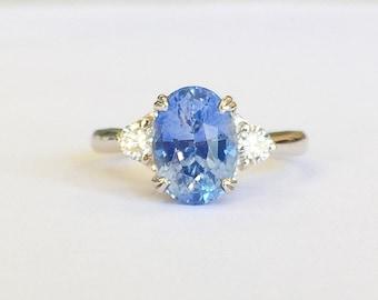 2.94ct Blue Sapphire and Diamond Ring
