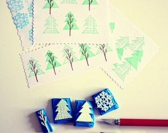 hand carved christmas stamps 4er set/ Weihnachten Stempel_ Pine_Schnee